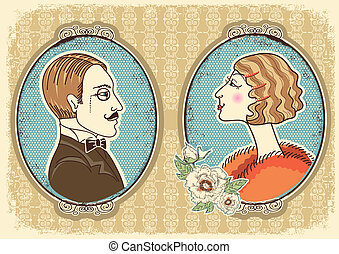 mujer, vendimia, portraits.vector, caballero, ilustración,...