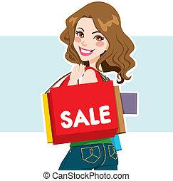 mujer, venta, comprador