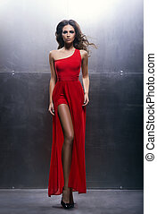 mujer, vestido, joven, rojo