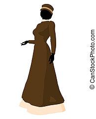 mujer victoriano, silueta, ilustración
