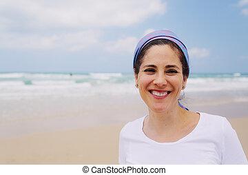 mujer, viejo, 40, años, al aire libre, retrato