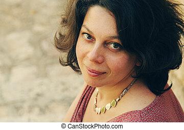 mujer, viejo, 40, años, bastante, retrato