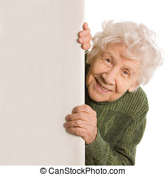 mujer, viejo, aislado, espías, plano de fondo, blanco