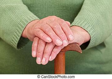 mujer, viejo, manos