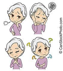 mujer, viejo, sentimientos
