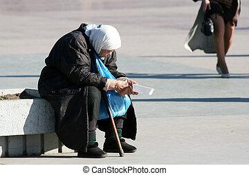 mujer, viejo, sin hogar