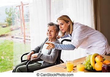 mujer, visitante, visit., salud, hogar, durante, 3º edad