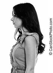 mujer, vista, joven, perfil, español, hermoso
