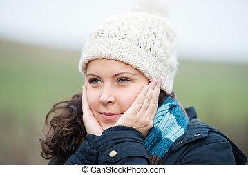 mujer, warming, ella, cara
