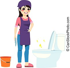 mujer, wc, limpieza