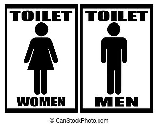 mujer, y, baño, blanco, señal, hombre