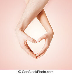 mujer y hombre, manos, actuación, forma corazón