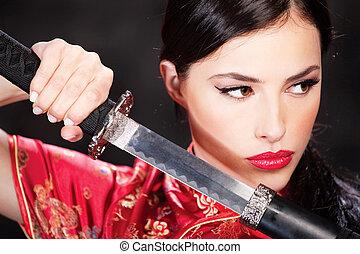 mujer, y, katana/sword