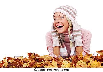 mujer, y, otoño sale