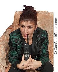 mujer, y, teléfono, 01