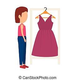 mujer, y, vestido rosa