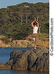 mujer, y, yoga