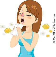 mujer, yendo, a, estornudo