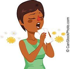 mujer, yendo, estornudo