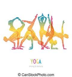 mujer, yoga, asanas