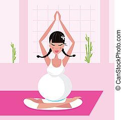 mujer, yoga, embarazada, postura lotus