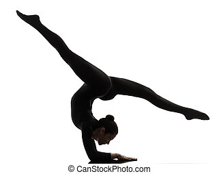 mujer, yoga, gimnástico, ejercitar, silueta, contorsionista