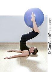 mujer, yoga, gimnasio, pelota, estabilidad, pilates, ...