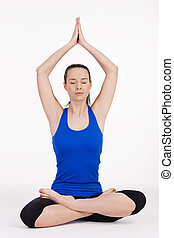 mujer, yoga, joven, ejercitar