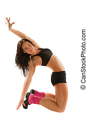 mujer, yoga, joven, postura, aislado, deportes, plano de...
