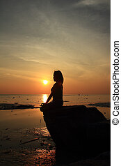 mujer,  yoga, Plano de fondo, ACTO, ocaso, mar, roca, silueta, meditación