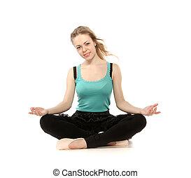 mujer, yoga, sentado, aislado, joven, plano de fondo, postura, blanco, avanzado
