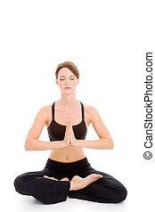 mujer, yoga, sentado, aislado, meditar, tranquilo