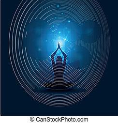 mujer, yoga, y, meditación, hermoso, azul, resumen, plano de...