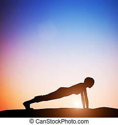 mujer, yoga, zen, postura, meditar, tablón, sunset.