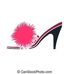 mujer, zapato, pompón, icono