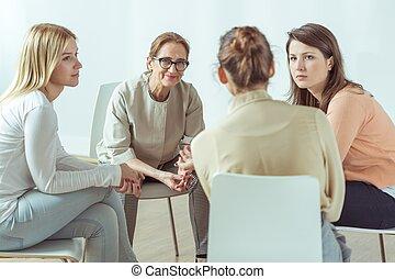 mujeres, activo, reunión