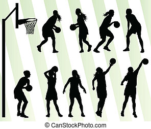 mujeres, baloncesto, vector, plano de fondo, silueta,...