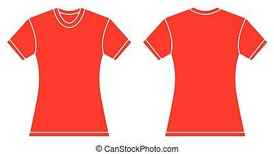 mujeres, camisa roja, diseño, plantilla