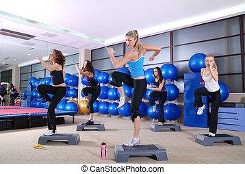 mujeres, club., grupo, ejercitar, condición física