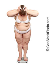 mujeres, con, sobrepeso, en, escalas