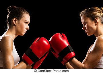 mujeres, confrontación, boxeadores, dos, entre