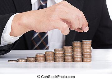 mujeres de la corporación mercantil, puesto, moneda, pila, dinero
