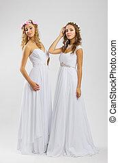 mujeres, en, vestido de la boda