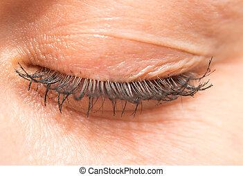 mujeres, eyelashes., primer plano