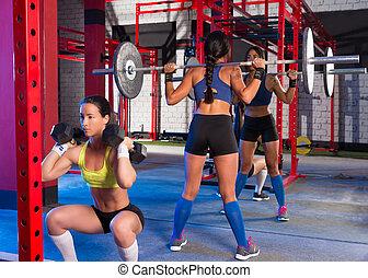mujeres, gimnasio, dumbbell, hechicería, barra con pesas