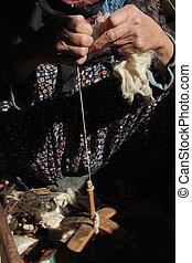 mujeres, girar, lana