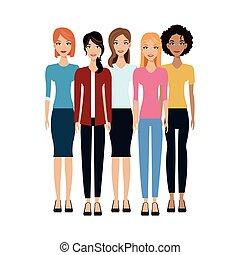 mujeres, grupo, icono