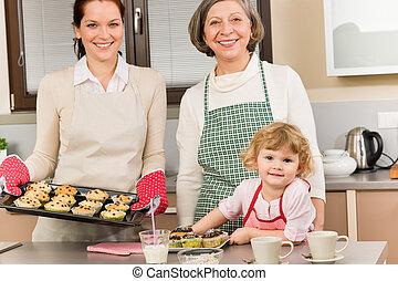 mujeres, hornada, tres generaciones, cocina