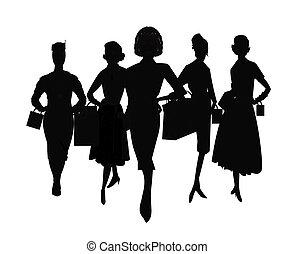 mujeres ir de compras, en, silueta