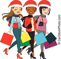 mujeres ir de compras, ventas, navidad